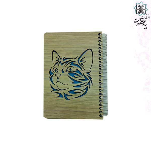 دفتر 60برگ چوبی لیزری طرح گربه نیم جیبی